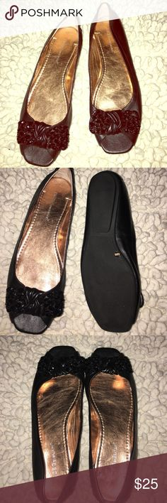 BCBG flats for women Cute peep toe flats by BCBG... genuine leather...bow has sequin like beading on it...very good condition and priced to sale.... BCBGeneration Shoes Flats & Loafers