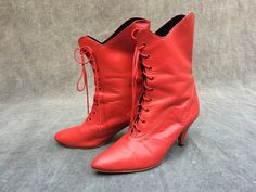 80's Pat Benetar Red Leather Boots by California West - Women's Size 8 -- EU 43 by ElkHugsVintage on Etsy