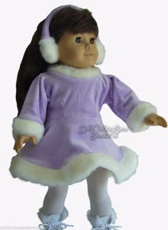 Lavender Ice Skating Dress +  Ear Muff for American Girl Doll Clothes