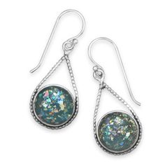 Ancient Authentic Roman Glass Sterling Silver Holy Land Deborah Earrings