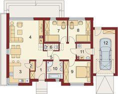 Projekt domu Gorgiasz 94,31 m² - koszt budowy - EXTRADOM Sweet Home, Floor Plans, House, Nice, Barn, Style, Ground Floor, Plants, Swag