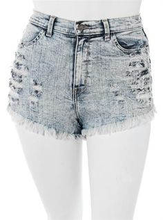 Plus Size Acid Frayed Light Denim Slashed Shorts, Plus Size Clothing, Club Wear, Dresses, Tops, Sexy Trendy Plus Size Women Clothes