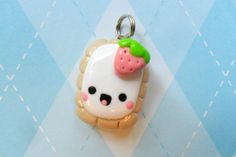 Kawaii Toaster Pastry Charm Polymer Clay Strawberry via Etsy
