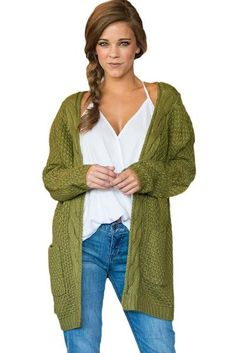 6d023ac686 Fashion Army Green Pocket Long Sleeve Cardigan Trendy Fall Outfits