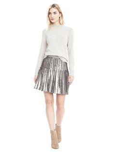 Sequin Pleated Skirt   Banana Republic