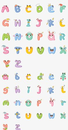 Cute Fonts Alphabet, Thai Alphabet, Hand Lettering Alphabet, Doodle Lettering, Creative Lettering, Alphabet And Numbers, Cartoon Letters, Animal Letters, Cute Letters