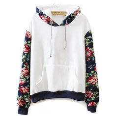 White Floral Long Sleeve Drawstring Hoodie (120 BRL) ❤ liked on Polyvore featuring tops, hoodies, sweatshirt, jackets, outerwear, floral hoodies, long sleeve tops, white top, long sleeve hoodies and hooded sweatshirt