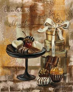 Still life with chocolate. For decoupage . Discussion on LiveInternet - Russian Service Online diary Decoupage Vintage, Decoupage Box, Chocolate Truffles, Chocolate Lovers, Hot Chocolate, Illustrations Vintage, Illustration Art, Vintage Labels, Vintage Cards