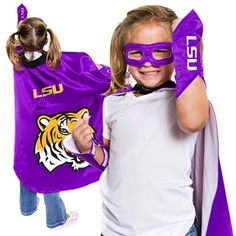 LSU Tigers Youth Superhero Costume - Purple...It's a bird! It's a plane! No! It's the greatest Tigers fan! Sorry, no adult sizes. ;)