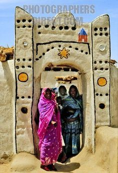 Northern Sudan , typical houses in a nubian village in the Tombos zone , near the Nile river stock photo