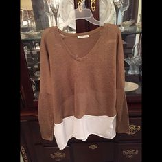 NWOT ZARA Blouse Brown and White Zara Blouse. NWOT!! NEVER WORN!!! Size small. PRICE IS FIRM! Zara Tops Blouses