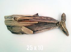 Driftwood Whale - Hanging Wall Sculpture Beach Art Decor