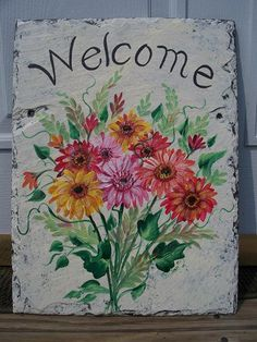 Handpainted Personalized Custom Slate Welcome  Sign  GERBER DAISIES