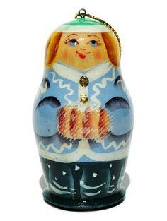 snowmaiden Russian babushka handmade wood Christmas ornament