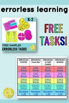 Errorless Learning Tasks - Try out these hands-on tasks! There are FIFTEEN errorless learning tasks - add them to your early literacy and math centers. From Positively Learning Blog #freecenters #taskboxes #errorlesslearning