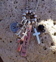 FAITH Cross Aluminum Metal Stamp Necklace by JewelryWithWords on Etsy, $26.00