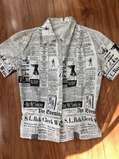 Novelty print newsprint 1950's blouse size small -junior size