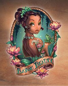Tiana - Bayou Beauty - Disney Tattoo Art Princesses by Tim Shumate