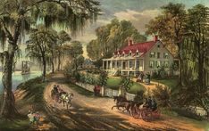 "Woodland Plantation, depicted in the Currier & Ives lithograph, ""A Home on the Mississippi"" This image has appeared on the label of Southern Comfort whiskey since 1934."