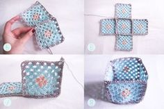 Make a bunch of granny squares to make a basket like this one by This Little Street.