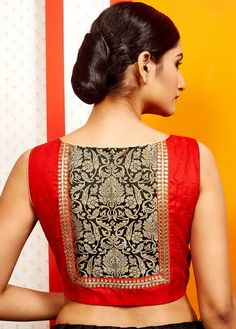 Latest patch work blouse designs 2019 - New Blouse Designs Patch Work Blouse Designs, Blouse Back Neck Designs, Silk Saree Blouse Designs, Saree Blouse Patterns, Fancy Blouse Designs, Neckline Designs, Silk Sarees, Sari Bluse, Stylish Blouse Design