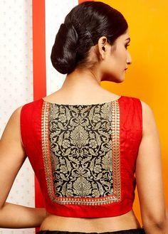 Red Raw Silk Designer Blouse