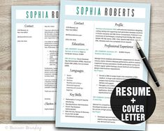 Instant Download Resume Template / CV Template by BusinessBranding, $15.00