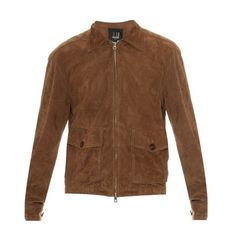 Dunhill Suede jacket ($2,030) ❤ liked on Polyvore featuring men's fashion, men's clothing, men's outerwear, men's jackets and tan