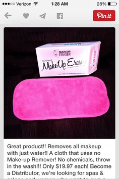 Step up your skin care routine with Makeup Eraser. Removes even waterproof mascara, dirt & oil with water only. Chemical free. Washable & lasts 2-3 years.