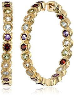 """18k Yellow Gold Plated Sterling Silver Multi-Gemstone Hoop Earrings (1.2"""" Diameter) Amazon Curated Collection"""