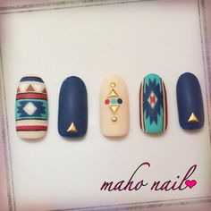 Image viaCool Tribal Nail Art Ideas and DesignsImage viaCustomized Aztec Press On Nails Fake nailsImage viaCool Tribal Nail Art Ideas and Designs. Get Nails, Fancy Nails, Gorgeous Nails, Pretty Nails, Bohemian Nails, Bohemian Style, Western Nails, Indian Nails, Indian Nail Art