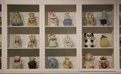 Cookie jars formerly in the Andy Warhol collection are displayed at the Magnificent Obsessions: The Artist as Collector exhibition at the Barbican Art Gallery on February 11, 2015 in London.
