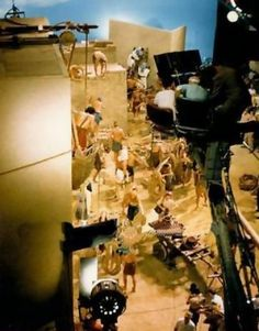 On the set filming The Ten Commandments
