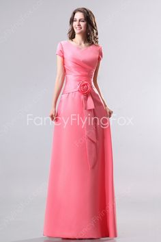 fancyflyingfox.com Offers High Quality Modest V-Neckline Short Sleeves Full Length Bridesmaid Dresses With Buttons,Priced At Only US$168.00 (Free Shipping)