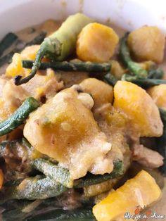 Ampalaya with Alamang - Recipe Ni Juan Roasted Pork and Pumpkin with Pork Sauce Recipes, Pork Recipes, Healthy Recipes, Healthy Meals, Dinengdeng Recipe, Ginataan Recipe, String Bean Recipes, Filipino Dishes, Filipino Food
