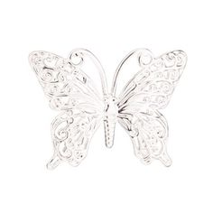 Filigree Butterfly Plate Charm Platinum Finished Brass 26x35mm pack Of 6 (2pack Bundle), Save $1, Women's
