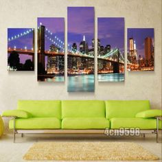 MODERN HOME WALL ART OIL PAINTING ON CANVAS THEME -NY  NIGHT 5P(NO FRAMED)#099