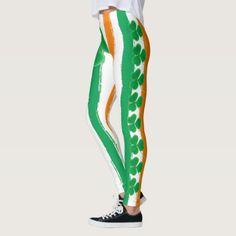 St Patrick's Day Irish Green Orange Shamrocks Leggings, Women's, Size: M Light Green / Forest Green / Pale Green Cute Leggings, Best Leggings, Printed Leggings, Irish Flag Colors, St Patrick's Day, Clover Green, Striped Background, St Paddys Day