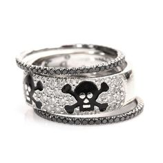 Hidalgo Diamond & Enamel Stackable Skull Wedding Ring Set White Gold Over Skull Jewelry, Fine Jewelry, Skull Rings, Jewlery, Jewelry Rings, Skull Wedding Ring, Wedding Band, Jewelry Accessories, Fashion Accessories