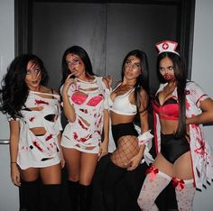 10 Funny and Scary Group Halloween Costumes Ideas for Girls and Teens Rave Halloween Costumes, Popular Halloween Costumes, Cute Costumes, Halloween Fashion, Halloween Outfits, Halloween Makeup, Diy Halloween, Halloween Decorations, Theme Carnaval