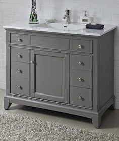 Fairmont Designs 1504-V42 Smithfield Medium Gray Bathroom Vanity 42 x 21-1/2 x 34-1/2 -- I like the combo of drawers and cabinet plus the wide sink top.