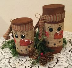 This is a burlap wrap made to fit a mason quart jar. I have painted a prim snowman on burlap to wrap a candle jar, candle or quart mason jar. It will fit any jar or candle the size of a quart jar. I have added double stick tape to the end to attach to jar. Set of two, 6 tall and 8 tall. Upcycled faux rusted jars. Thanks for visiting and keep checking for new listing