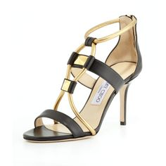 Jimmy Choo Venus Leather Stud Sandal, Black/Gold ($427) ❤ liked on Polyvore featuring shoes, sandals, strap sandals, gold shoes, black high heel sandals, jimmy choo shoes y metallic sandals