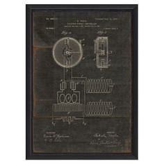 An eye-catching addition to your living room or master suite, this artful framed print showcases a Tesla patented design in black.  ...