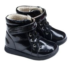 These gorgeous patent black toddller boots feature faux fur linings for warmth and comfort and flexible rubber soles for traction and ease of movement.