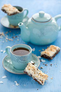 ღღ Lovely little teatime sweet treats: Chocolate Coconut Bars.