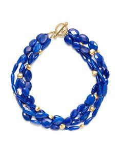 Cobalt Blue Quartz & Gold Bead Triple Strand Necklace by KEP on Gilt.com