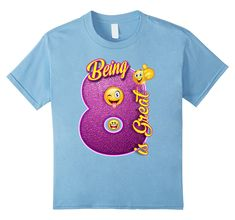 Kids Being 8 Is Great Emojial Year Old Birthday T Shirt Gift Baby Blue