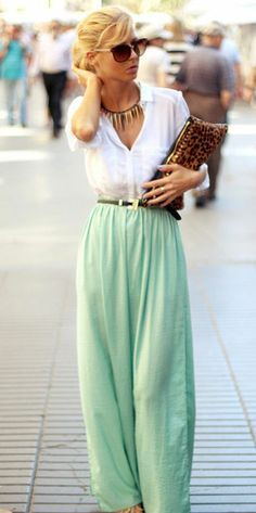 summer outfits (Mint skirt, white linen 3/4 shirt, my tan belt and tan clutch)