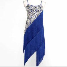 Blue Silver Sequined Tassel Spaghetti Ballroom Dancing Party Dresses SKU-401322